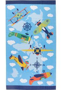 Toalha Banho Infantil Candy Aviões 65X115Cm - Teka - Colorido