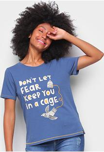 Camiseta T-Shirt Cantão Classic Cage Feminina - Feminino-Azul Claro