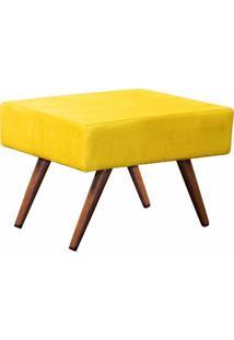 Puff Decorativo Charme Retangular Suede Amarelo - D'Rossi