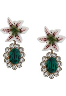 Dolce & Gabbana Floral Crystal Stud Earrings - Branco