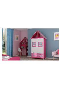Guarda Roupa Casinha 2 Portas C/ Pés Pink Ploc Com Branco Acetinado Gelius Móveis