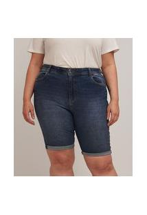 Bermuda Ciclista Jeans Lisa Com Barra Dobrada Curve & Plus Size | Ashua Curve E Plus Size | Azul | 48