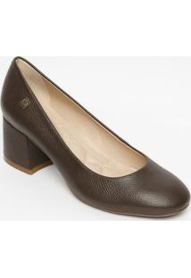 Sapato Tradicional Em Couro Com Tag- Marrom Escuro- Loucos E Santos