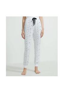 Calça De Pijama Jogger Em Viscolycra Estampa Estrelinhas | Lov | Branco | G