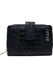 Carteira Em Couro Recuo Fashion Bag Azul Marinho