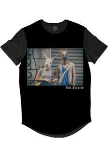 Camiseta Longline Lf Casal Animal Sublimada Preto