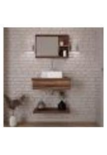Conjunto Para Banheiro Bancada Com Cuba Q32 Quadrada, Prateleira E Espelheira City 606 Nogal