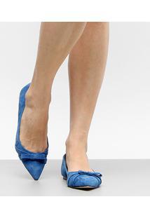 Sapatilha Couro Shoestock Bico Fino Feminina - Feminino-Azul