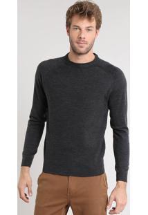 Suéter Masculino Em Tricô Com Recorte Em Suede Cinza Mescla Escuro