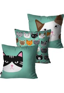 Kit Com 3 Capas Para Almofadas Decorativas Verde Gatos 45X45Cm Pump Up - Verde - Dafiti