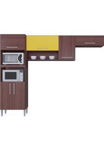 Cozinha Com 6 Portas Sharmila Capuccino/Amarelo - Lc Móveis