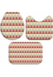 Jogo Tapetes Love Decor Para Banheiro Abstrato Triângulares Único Multicolorido