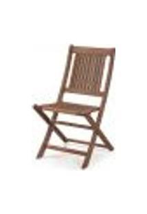 Cadeira Dobrável Sem Braços Para Áreas Externas Em Madeira Eucalipto - Maior Durabilidade – Castanho