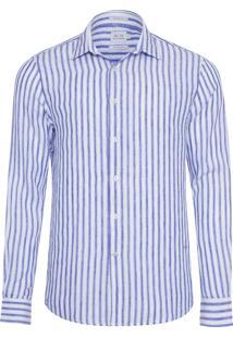 Camisa Masculina Linho Listrada - Branco