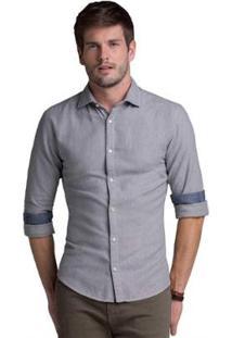 Camisa Buckman Casual Fio Tinto Masculina - Masculino-Cinza