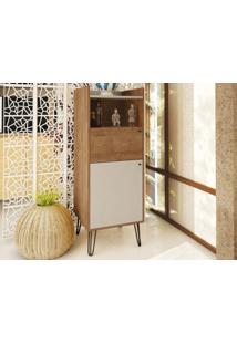 Cristaleira Pe Ferro Style Buriti/Off-White - Líder Design