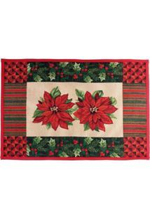 Tapete Poinsettia E Listras Decoração Natal 48X69Cm Vermelha