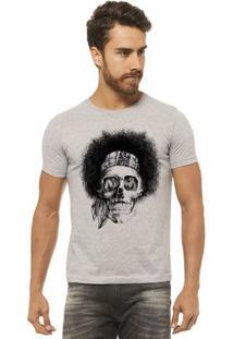 Camiseta Joss - Caveira Black Power - Masculina - Masculino-Mescla