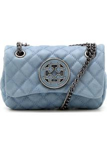 Bolsa Couro Capodarte Matelassê Azul