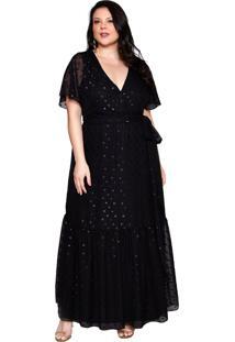 Vestido Almaria Plus Size Pianeta Chiffon Preta