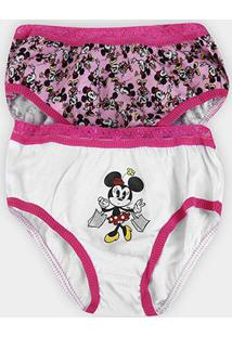 Kit Calcinha Lupo Disney Minnie Feminina - 2 Peças - Feminino-Branco