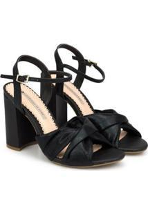 Sandália Sapatinho De Luxo Bloco Alto Transfer Dubai Feminina - Feminino-Preto