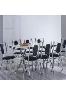 Conjunto Com Mesa Me 304 E 8 Cadeiras Ca 980 Milano Móveis Brastubo Branco/Preto