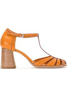Sarah Chofakian Sapato Salto Bloco De Couro - Laranja