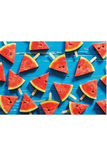 Tapete Melancia- Azul Claro & Vermelho- 60X40Cm-Tapetes Junior