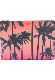 Saint Laurent Palm Tree Print Clutch - Rosa