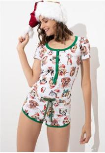 Pijama Macaquinho Acuo Canelado Estampado - Então É Natal - Feminino-Branco