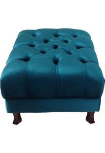 Poltrona Puff Banco Retrô Luís Xv Capitonê Azul Tiffany