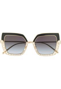 Dolce & Gabbana Eyewear Óculos De Sol Com Esferas Peroladas - Dourado