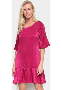 Vestido Drezzup Sino Curto Amplo Babados - Feminino-Pink