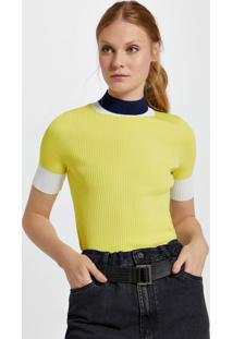 Blusa De Tricot Tricolor Com Gola Alta Amarelo Neon/Branco Hall/Azul Lenon