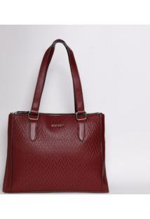 Bolsa Com Recorte Texturizado - Vinho - 26,5X35X11Cmchenson Bolsas
