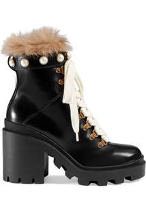 Gucci Ankle Boot De Couro Com Lã - Preto