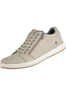 Sapatênis Cr Shoes Casual Sapatofran Com Elástico E Zíper Leve Lançamento Bege
