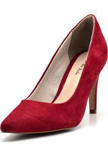 Sapato Scarpin Salto Alto Fino Em Nobucado Vermelho - Kanui