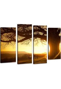 Quadro Oppen House 70X100Cm Árvore Por Do Sol Decorativo Interiores