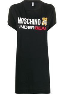 Moschino Chemise Com Estampa De Logo - Preto