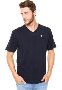 Camiseta U.S. Polo Reta Azul-Marinho
