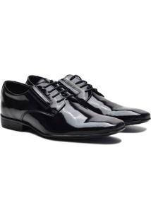 Sapato Social Couro Pórtice Verniz Masculino - Masculino-Preto