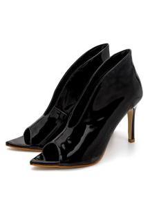 Sapato Scarpin Abotinado Salto Alto Fino Em Napa Verniz Preto Confort