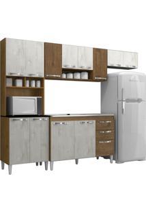 Cozinha Compacta Com Balcão Carol 12 Portas Malbec/Aspen/Malbec - Mpdecor