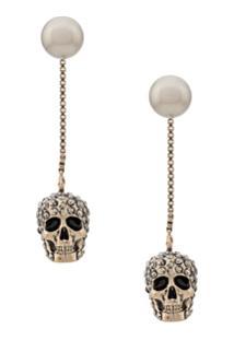 Alexander Mcqueen Pave Skull Earrings - Dourado