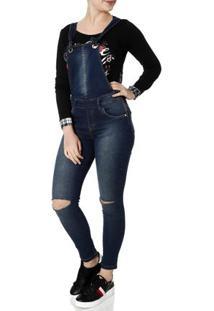 Macacão Jeans Jardineira Feminino Zune Azul