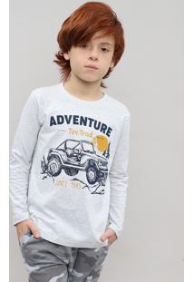 "Camiseta Infantil Com Estampa ""Adventure"" Manga Longa Cinza Mescla Claro"