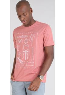 "Camiseta Masculina ""Explore The Route"" Manga Curta Gola Careca Coral"