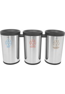 Conjunto De 3 Lixeiras Em Aço Inox Para Coleta Seletiva - Tramontina